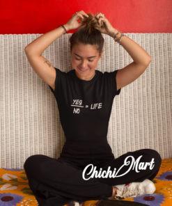 Black Yes or No Women's Tee, chichimart