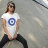 chichimart - evil eye design on white t-shirt for women