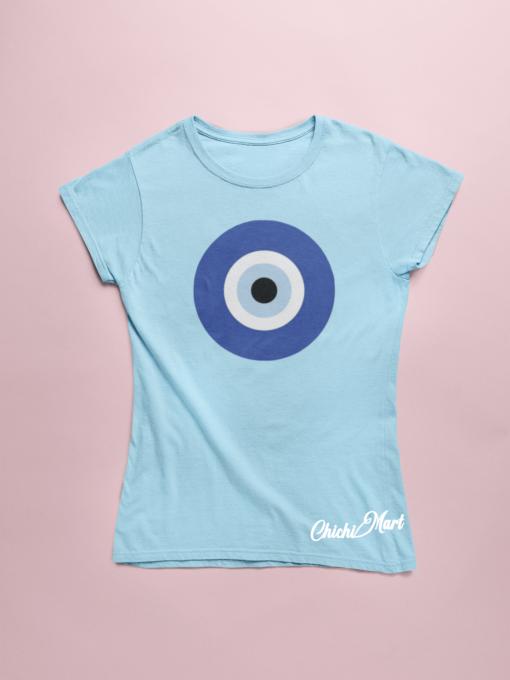 chichimart- evil eye on blue tee