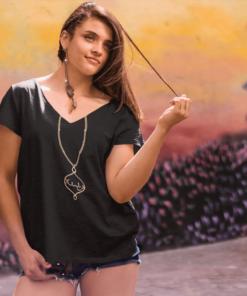 Chichimart Pendent design Fereshteh on black t-shirt